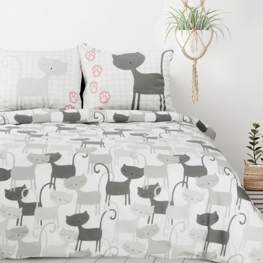 Bielo sivé bavlnené detské posteľné obliečky mačky 140 x 200 cm