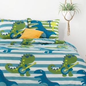 Detské modré bavlnené posteľné obliečky DINOSAUR