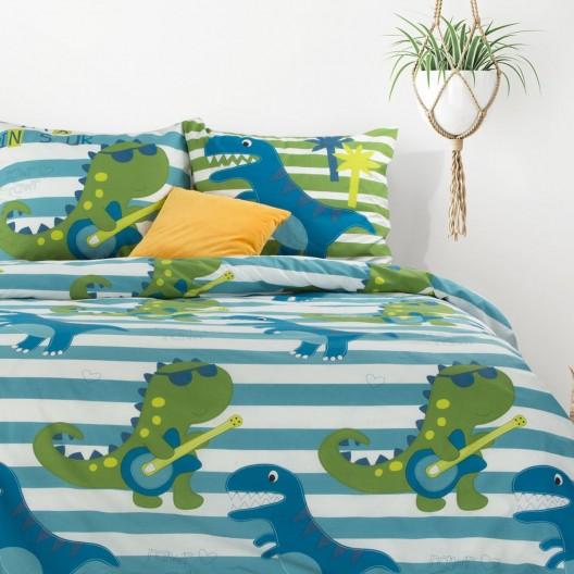 Detské modré bavlnené posteľné obliečky DINOSAURUS 140 x 200 cm