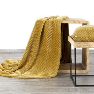 Štýlová medovo žltá deka s geometrickým vzorom 150 x 200 cm