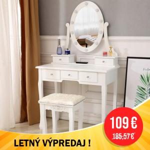 LETNÝ VÝPREDAJ Luxusný biely toaletný stolík s osvetlením a taburetkou