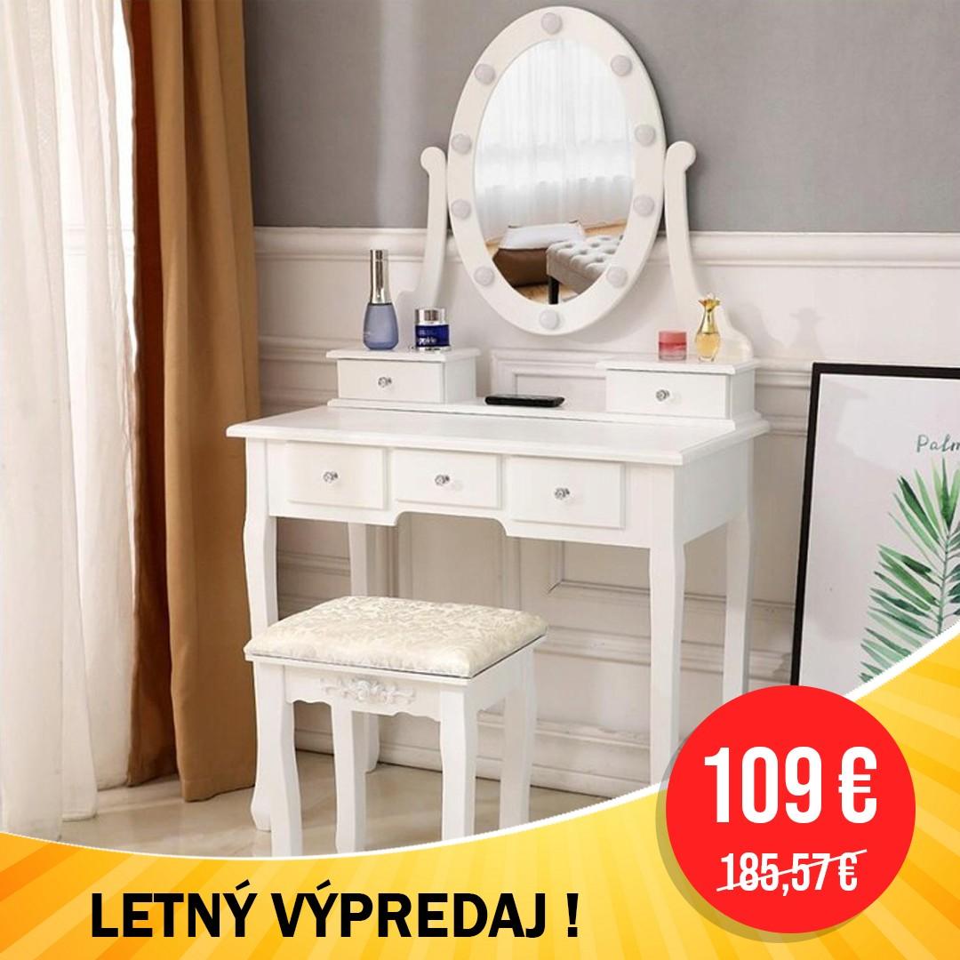 DomTextilu LETNÝ VÝPREDAJ Luxusný biely toaletný stolík s osvetlením a taburetkou 42631 Biela