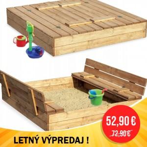 LETNÝ VÝPREDAJ Zatvárateľné pieskovisko s lavičkami 120 x 120 cm