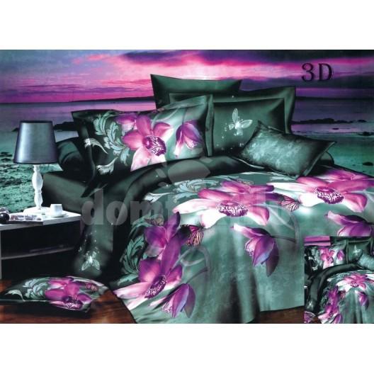 Moderné posteľné návliečky zelenej farby s fialovými kvetmi