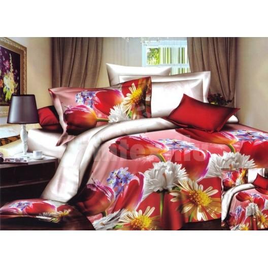 Moderné posteľné návliečky červenej farby s bielymi kvetmi