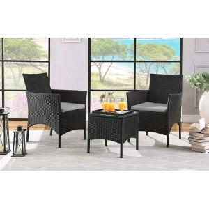Záhradný ratanový kávový set v čiernej farbe