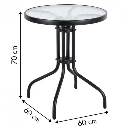Okrúhly záhradný stôl 60 cm sklenený