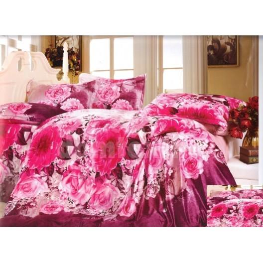 Posteľné obliečky s ružovými kvetmi