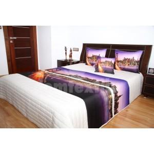 Luxusný prehoz prikrývka na posteľ Brooklyn Bridge fialovo biely