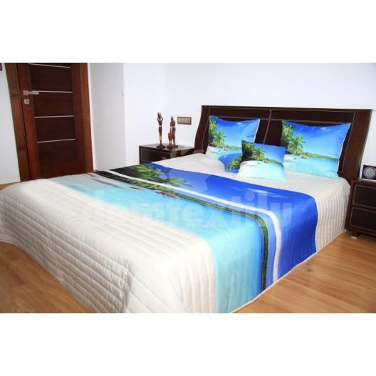 Elegantná prikrývka na posteľ bielo modrá motív modrá lagúna