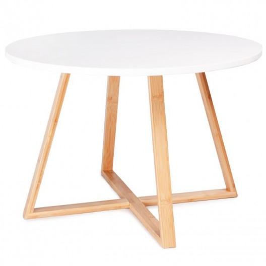 Elegantný biely konferenčný stolík so zlatými nohami