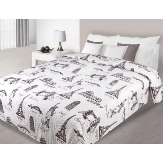 Prehoz na posteľ bielej farby so vzormi svetových veľkomiest