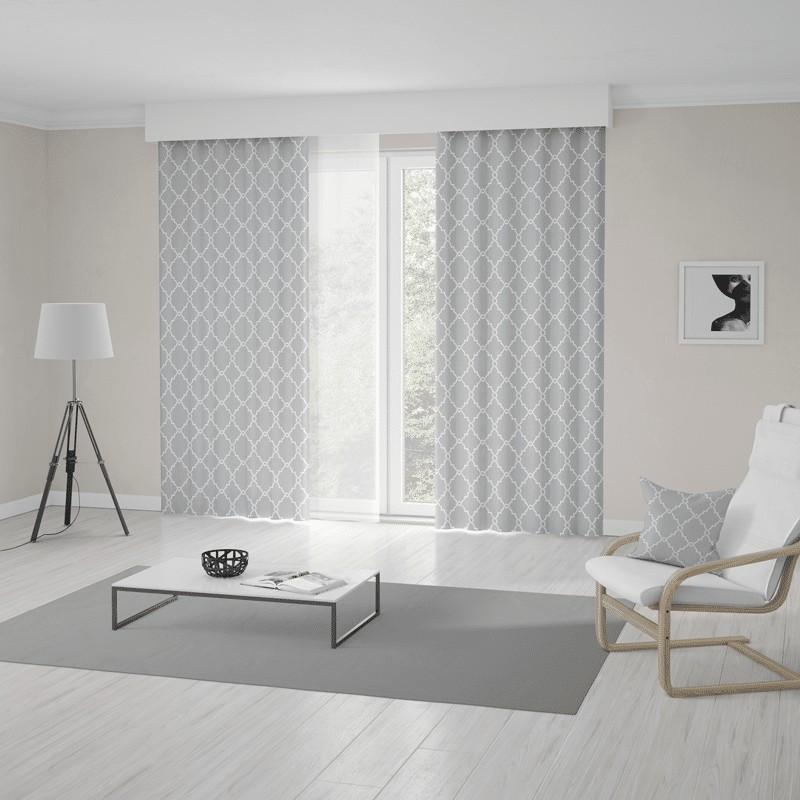 Sivo biele metrážové škandinávske závesy s výrazným vzorom 120 x 250 cm
