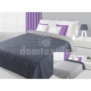 Prehoz na posteľ strieborno sivej farby s vlnovým vzorom