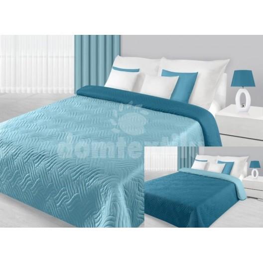 Prehoz na posteľ modrej farby