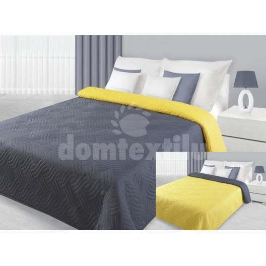 Prehoz na manželskú posteľ sivo žltej farby