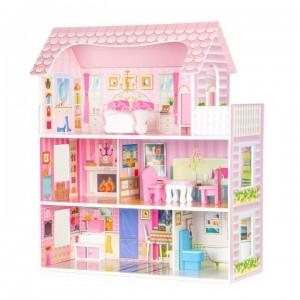 Veľký drevený domček pre bábiky + nábytok ECOTOYS