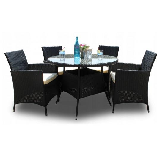 Záhradný ratanový set stola a stoličiek v čiernej farbe