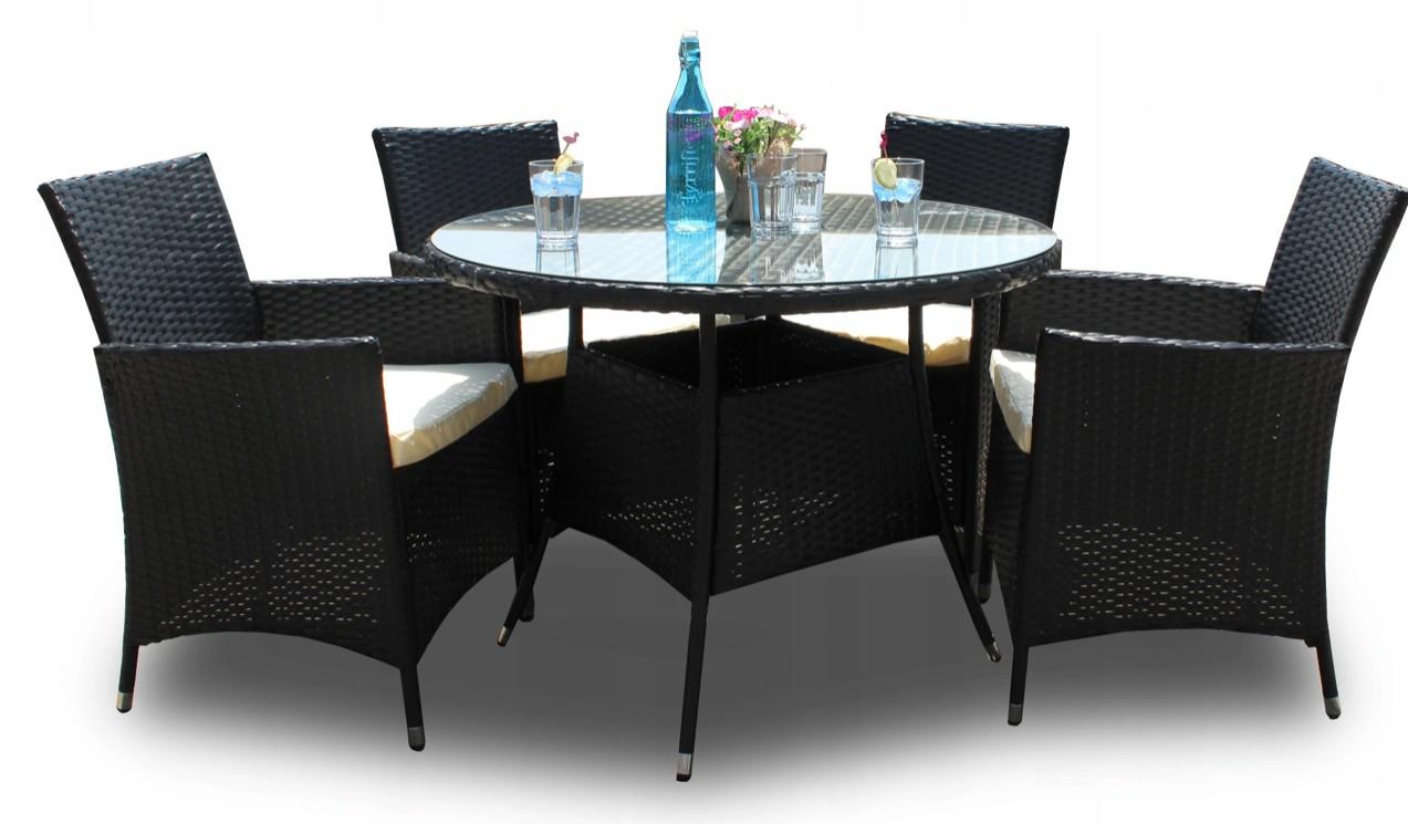 DomTextilu Záhradný ratanový set stola a stoličiek v čiernej farbe 43389