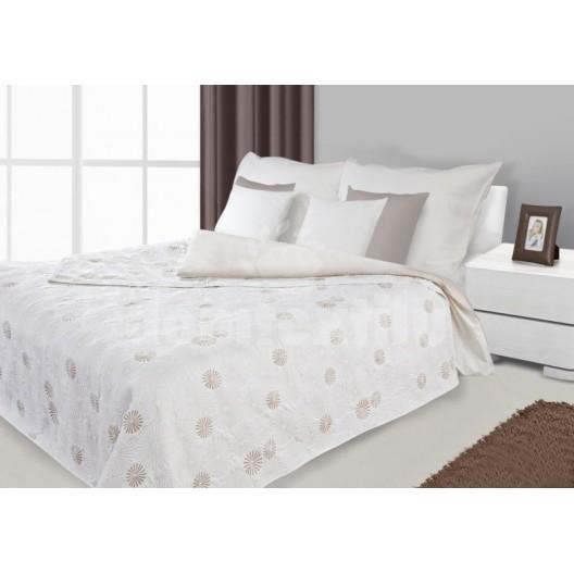 Prikrývka na posteľ, prehoz na posteľ bielej farby s kruhmi
