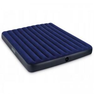 Modrý nafukovací matrac pre dve osoby so zamatovm povrchom