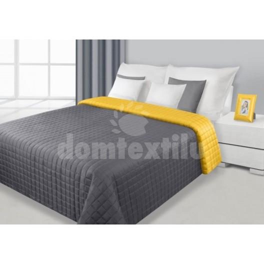 Prehozy na manželskú posteľ sivo žltej farby s kockovaným motívom
