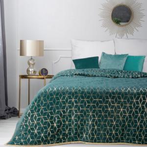 Štýlový tyrkysovo zelený prehoz na manželskú posteľ  SKLADOM 170 x 210 cm