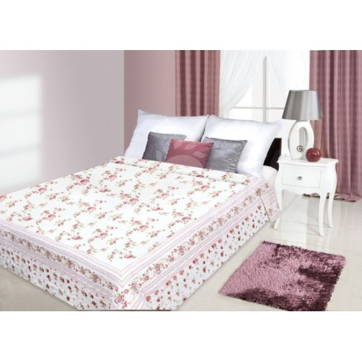 Prehoz na posteľ s motívom kvetov bielo červenej farby