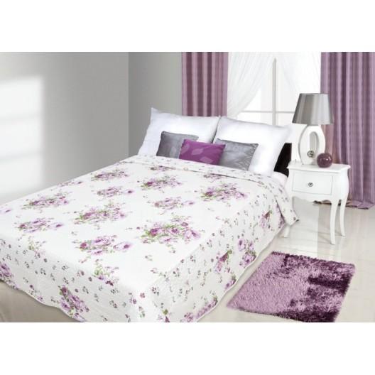 Biely prehoz na posteľ s motívom kvetov