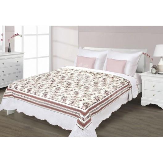 Prehozy na manželskú posteľ s kvetmi béžovo hnedej farby