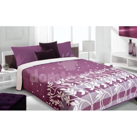 Obojstranný prehoz na posteľ fialovej farby s motívom stebiel trávy