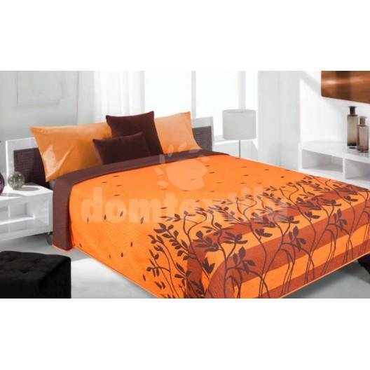 Prikrývka na posteľ, prehoz na posteľ fialovej farby s motívom trávy