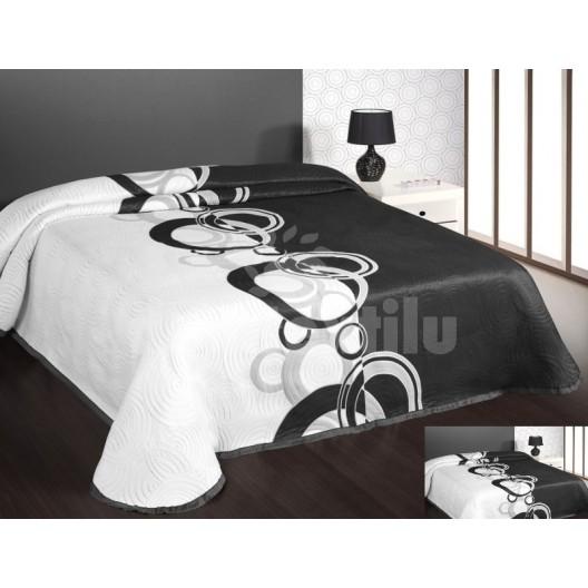 Prehoz na posteľ bielo čiernej farby s kruhmi