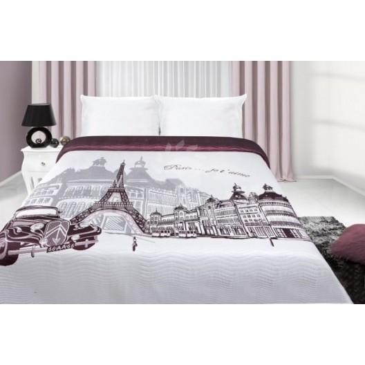 Prehoz na manželskú posteľ bielo bordovej farby s motívom mesta Paríž