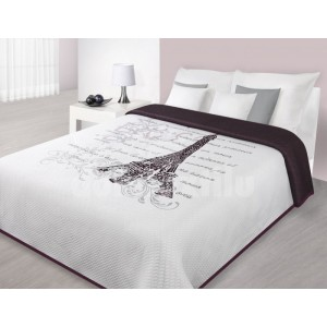 Prikrývka na manželskú posteľ s motívom Paríž Eifelová veža bielo bordovej farby