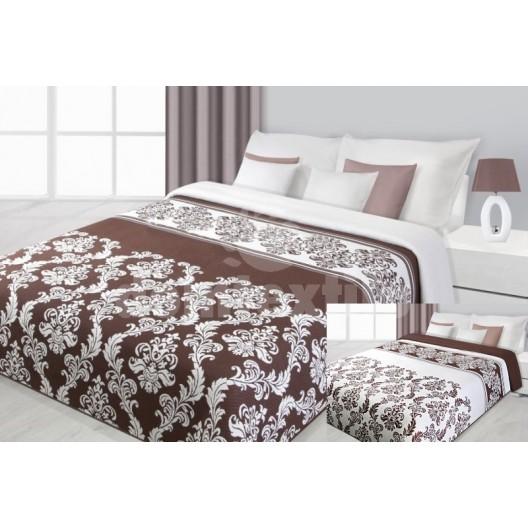 Obojstranná prikrývka na manželskú posteľ s moderným vzorom krémovo hnedej farby