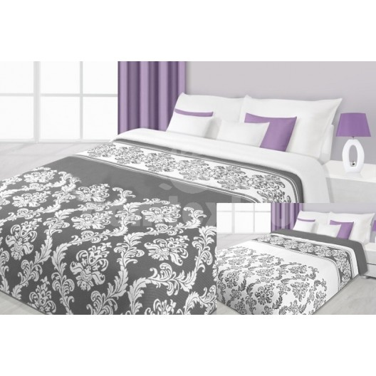 Moderná prikrývka na posteľ obojstranná bielo sivej farby s ornamentami