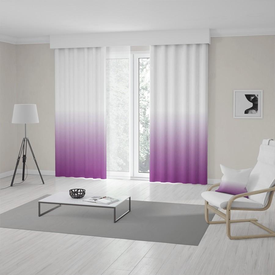Bielo fialový záves šitý na mieru s trendy vysokým ombré designom šírka 120 x dĺžka 170 cm