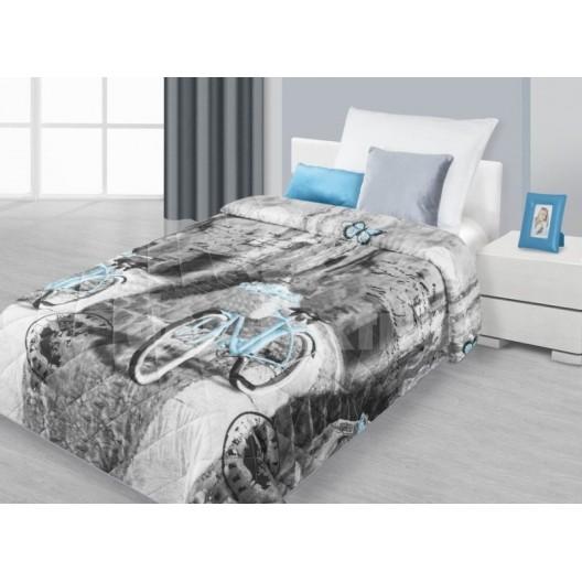 Prehozy na postele šedej s motívom ulice a modrým bicyklom