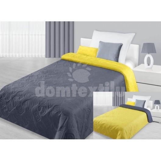 Prehoz na postele šedej farby obojstranný s písmenami