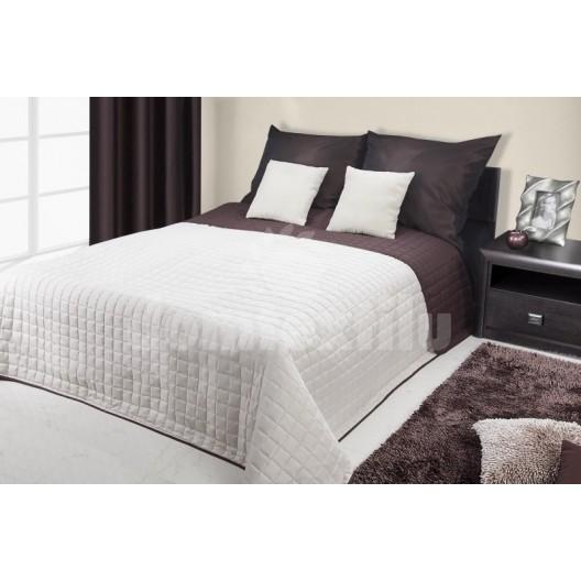 Prehoz na postele bielo hnedej farby s prešívaným motívom