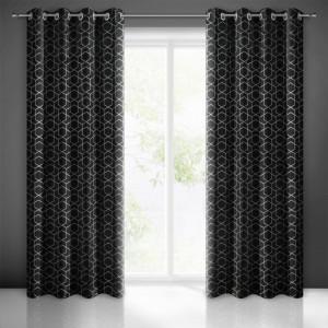 Čierne závesy s geometrickou potlačou do obývačky 250cm SKLADOM