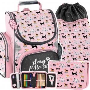 Trojčasťová ružová školská taška so psíkmi