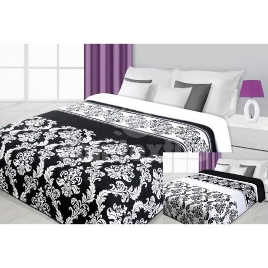 Prehoz na posteľ čiernej farby s kvetinovým vzorom