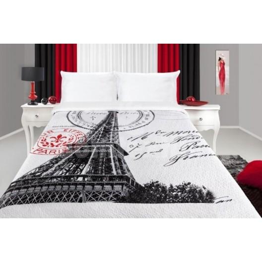 Biely prehoz na postele s motívom mesta Paríž