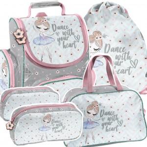 Štvorčasťová školská taška v krásnych farbách s baletkou