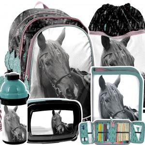 Školská taška pre milovníkov koní v 5-dielnej sade