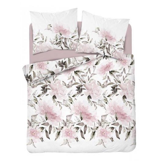 Brilantné biele bavlnené posteľné obliečky s ružovými kvetmi 3časťové 160x200cm SKLADOM