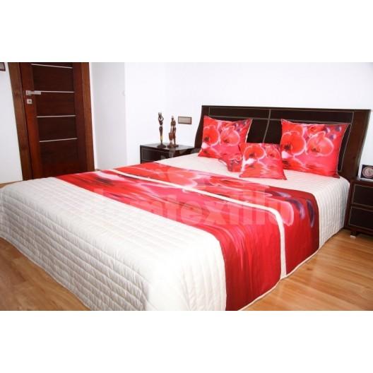 Prehoz na posteľ krémovej farby s motívom červených orchideí