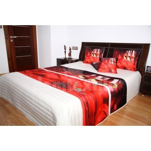 Prehoz na posteľ krémovej farby s motívom červenej ruže a bieleho vína